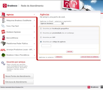 tela da rede de atendimento bradesco onde dá para localizar o endereço de uma agencia por seu número